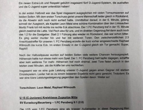 Spielberichte Jugendmannschaften FC Penzberg Wochenende 08.-10.06.2018