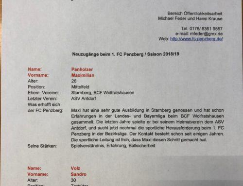 Offizielle Presseinfo Zu & Abgänge 1.FC Penzberg Saison 18/19