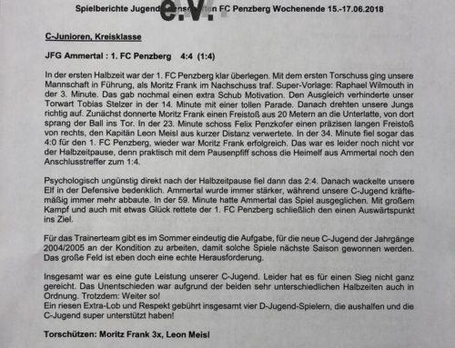 Spielberichte Jugendmannschaften FC Penzberg Wochenende 15.-17.06.2018