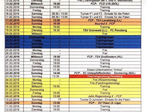 Trainingsplan I. Mannschaft Rückrunde 2019