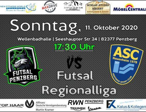 Heimspiel Futsal am Sonntag um 17.30 Uhr in der Wellenbadhalle